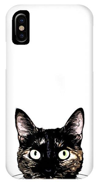 Pets iPhone Case - Peeking Cat by Nicklas Gustafsson