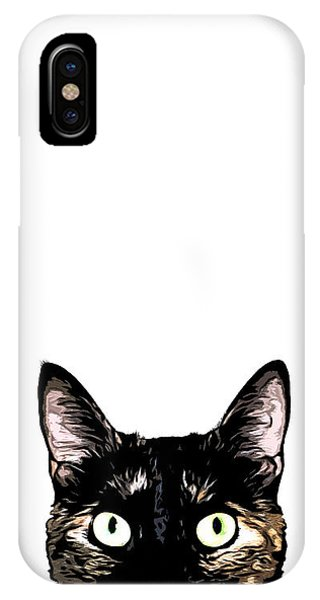 Pet iPhone Case - Peeking Cat by Nicklas Gustafsson