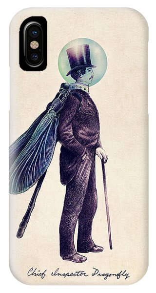 Vintage iPhone Case - Inspector Dragonfly by Eric Fan