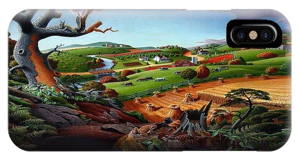 Alabama iPhone Case - Appalachian Fall Thanksgiving Wheat Field Harvest Farm Landscape Painting - Rural Americana - Autumn by Walt Curlee