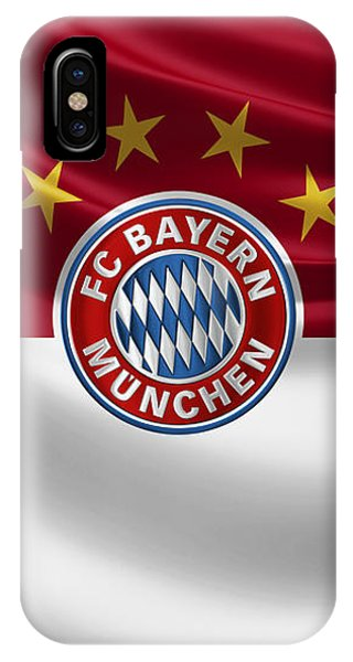 F C Bayern Munich - 3 D Badge Over Flag IPhone Case