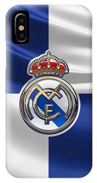 Real Madrid C F - 3 D Badge Over Flag IPhone Case
