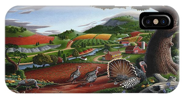 Amish iPhone Case - Wild Turkeys Appalachian Thanksgiving Landscape - Childhood Memories - Country Life - Americana by Walt Curlee