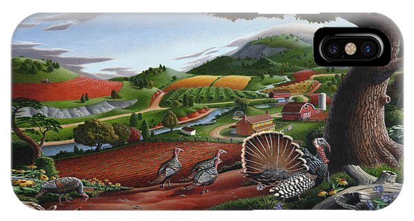 Wild Turkeys Appalachian Thanksgiving Landscape - Childhood Memories - Country Life - Americana IPhone Case