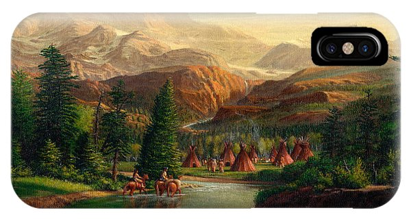Indian Village iPhone Case - Indian Village Trapper Western Mountain Landscape Oil Painting - Native Americans Americana Stream by Walt Curlee
