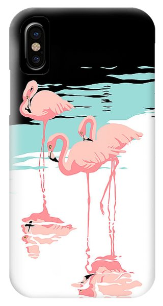 Pink Flamingos Tropical 1980s Abstract Pop Art Nouveau Graphic Art Retro Stylized Florida Print IPhone Case