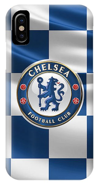 Chelsea F C - 3 D Badge Over Flag IPhone Case