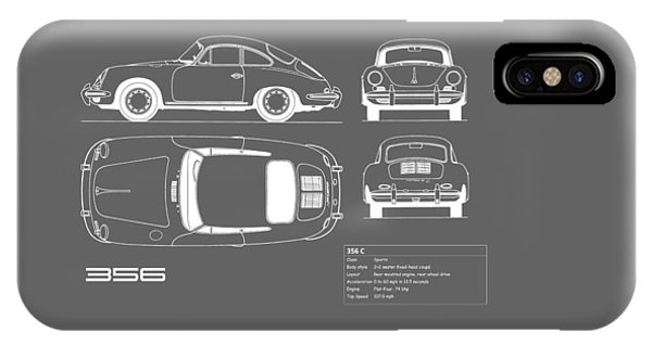 Porsche 356 C Blueprint IPhone Case