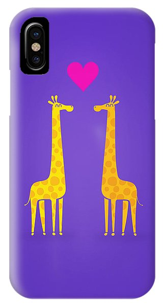 Giraffe iPhone Case - Cute Cartoon Giraffe Couple In Love Purple Edition by Philipp Rietz
