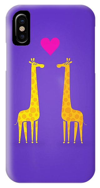 Cute Cartoon Giraffe Couple In Love Purple Edition IPhone Case