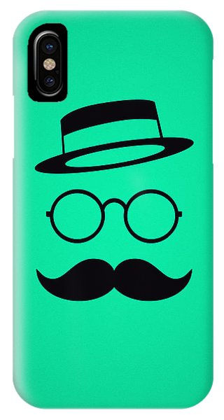 Space iPhone Case - Retro Minimal Vintage Face With Moustache And Glasses by Philipp Rietz