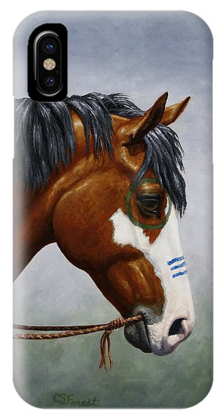 West Bay iPhone Case - Bay Native American War Horse by Crista Forest