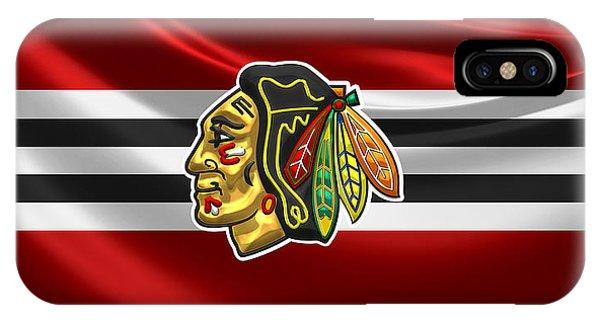 Chicago Blackhawks - 3 D Badge Over Silk Flag IPhone Case