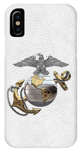 U S M C Eagle Globe And Anchor - C O And Warrant Officer E G A Over White Leather IPhone Case