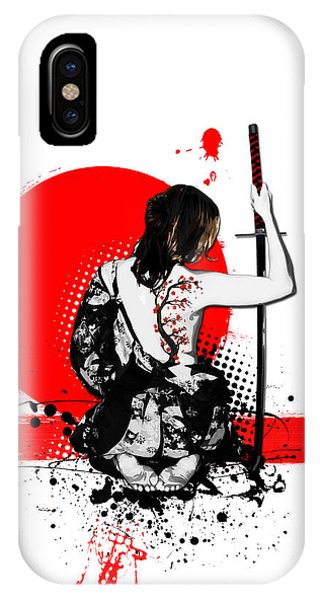 Blossoms iPhone Case - Trash Polka - Female Samurai by Nicklas Gustafsson