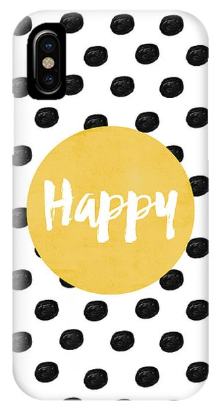 Black And White iPhone X Case - Happy Yellow And Dots by Allyson Johnson