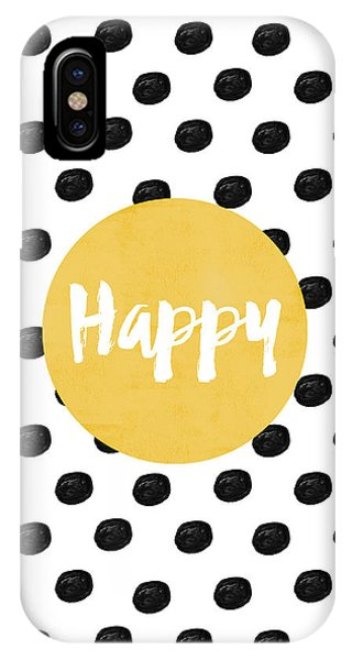 Black And White Art iPhone Case - Happy Yellow And Dots by Allyson Johnson