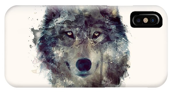 Drawing iPhone Case - Wolf // Persevere by Amy Hamilton