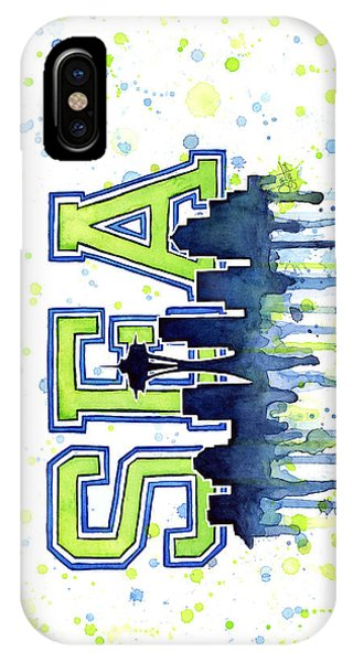 Day iPhone Case - Seattle Watercolor 12th Man Art Painting Space Needle Go Seahawks by Olga Shvartsur