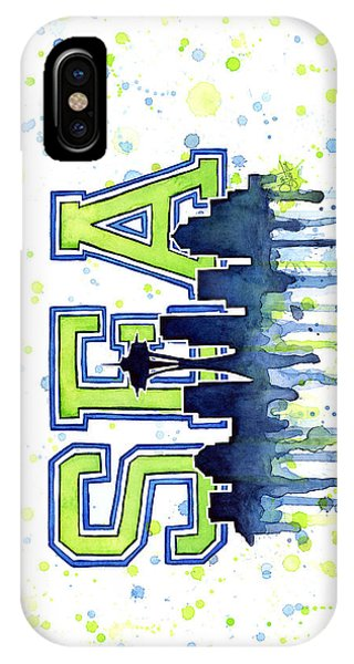 Hawk iPhone Case - Seattle Watercolor 12th Man Art Painting Space Needle Go Seahawks by Olga Shvartsur