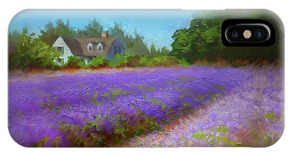 Impressionistic Lavender Field Landscape Plein Air Painting IPhone Case
