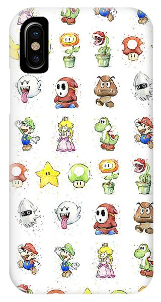 Plants iPhone Case - Mario Characters In Watercolor by Olga Shvartsur