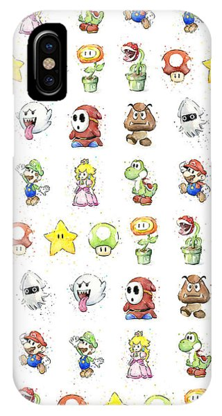 Fire iPhone Case - Mario Characters In Watercolor by Olga Shvartsur