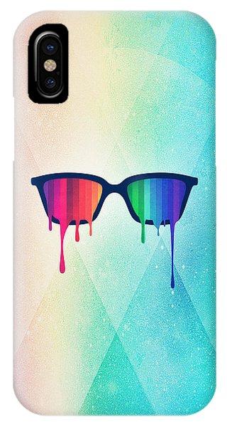 Glass iPhone Case - Love Wins Rainbow - Spectrum Pride Hipster Nerd Glasses by Philipp Rietz