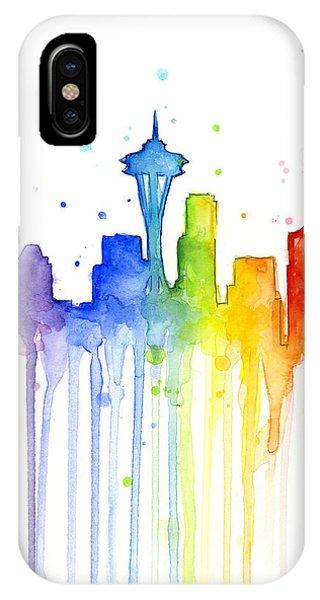 Washington iPhone Case - Seattle Rainbow Watercolor by Olga Shvartsur