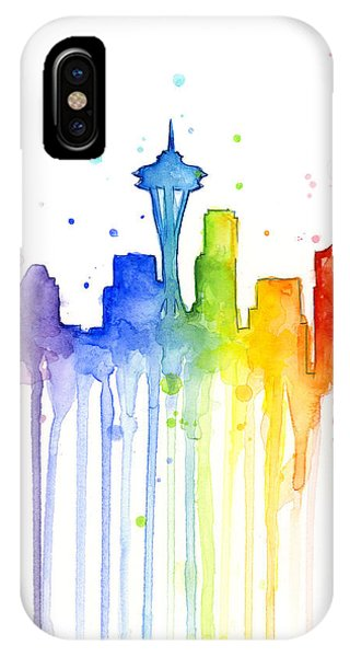 Seattle Skyline iPhone Case - Seattle Rainbow Watercolor by Olga Shvartsur