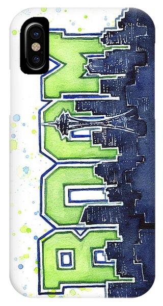 Washington iPhone Case - Seattle 12th Man Legion Of Boom Painting by Olga Shvartsur