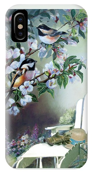 Chickadees In Blossom Tree IPhone Case