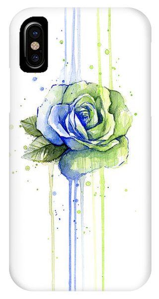 Men iPhone Case - Seattle 12th Man Seahawks Watercolor Rose by Olga Shvartsur