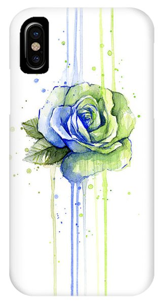 Men iPhone Case - Seattle 12th Man Seahawks Watercolor Rose by Olga Shvartsur