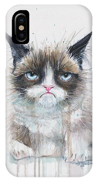 Grumpy Cat Watercolor Painting  IPhone Case