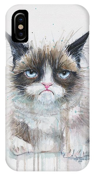 Watercolor Pet Portraits iPhone Case - Grumpy Cat Watercolor Painting  by Olga Shvartsur