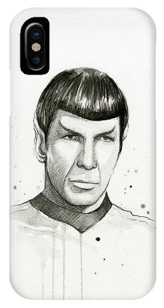 Nerd iPhone Case - Spock Watercolor Portrait by Olga Shvartsur