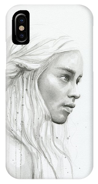 Dragon iPhone Case - Daenerys Watercolor Portrait by Olga Shvartsur