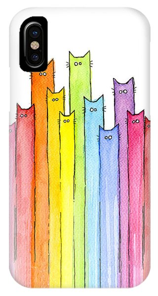 Cute iPhone Case - Cat Rainbow Watercolor Pattern by Olga Shvartsur