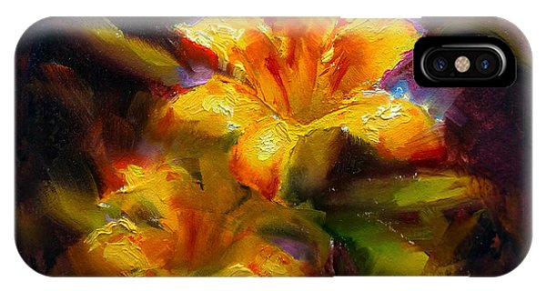 Daylily Sunshine - Colorful Tiger Lily/orange Day-lily Floral Still Life  IPhone Case