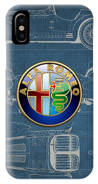 Autos iPhone Case - Alfa Romeo 3 D Badge Over 1938 Alfa Romeo 8 C 2900 B Vintage Blueprint by Serge Averbukh