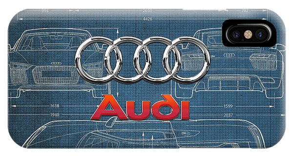 Sports iPhone Case - Audi 3 D Badge Over 2016 Audi R 8 Blueprint by Serge Averbukh