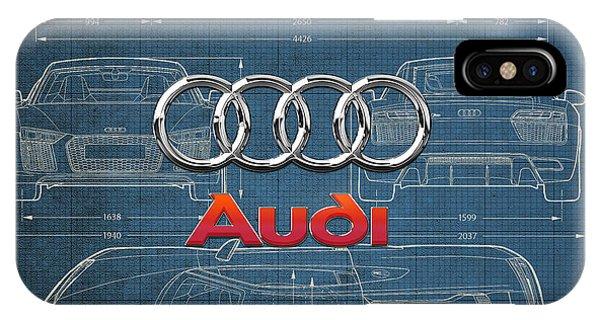 Autos iPhone Case - Audi 3 D Badge Over 2016 Audi R 8 Blueprint by Serge Averbukh
