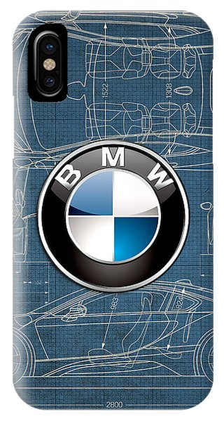 Autos iPhone Case - B M W 3 D Badge Over B M W I8 Blueprint  by Serge Averbukh