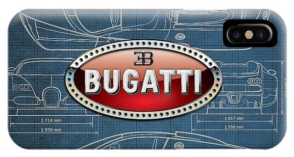 Artwork iPhone Case - Bugatti 3 D Badge Over Bugatti Veyron Grand Sport Blueprint  by Serge Averbukh
