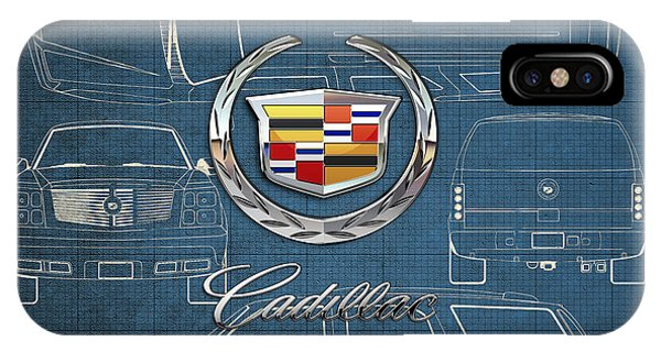 Artwork iPhone Case - Cadillac 3 D Badge Over Cadillac Escalade Blueprint  by Serge Averbukh