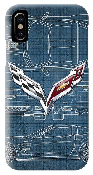 Autos iPhone Case - Chevrolet Corvette 3 D Badge Over Corvette C 6 Z R 1 Blueprint by Serge Averbukh