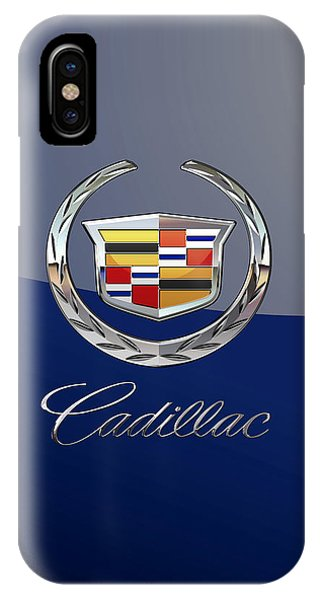 Cadillac 3 D  Badge Special Edition On Blue IPhone Case