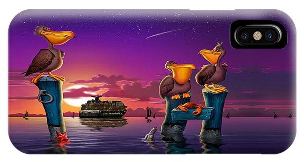 Pelican Sunset Whimsical Cartoon Tropical Birds Florida Seascape - Square Format IPhone Case