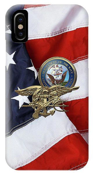 U. S. Navy S E A Ls Trident Over American Flag  IPhone Case